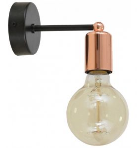 nowoczesna lampa kinkiet loft miedz chrom 277x300 Żarówki dekoracyjne Edison   modne i funkcjonalne rozwiązanie w nowoczesnym wnętrzu